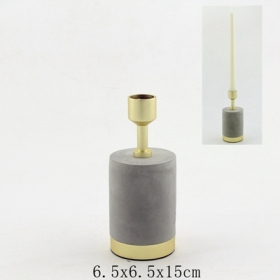 Metal Candle Holder with Concrete Base