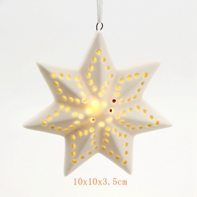 Ceramic christmas tree star hanging led light