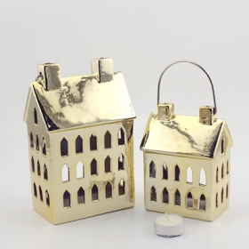gold ceramic house tea light holder